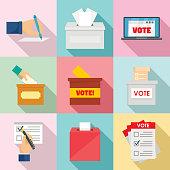 Ballot voting box vote icons set, flat style