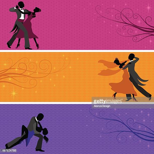 ilustraciones, imágenes clip art, dibujos animados e iconos de stock de banners salón de fiestas de baile - bailar un vals