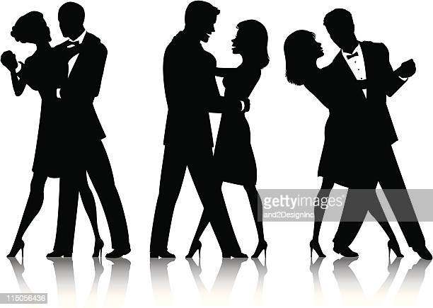 ballroom dance silhouettes - dancing stock illustrations, clip art, cartoons, & icons