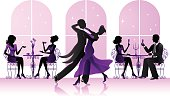 Ballroom dancers in the restaurant