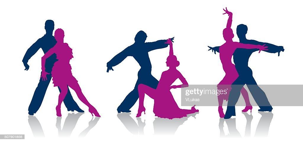 Ballroom dancers silhouettes