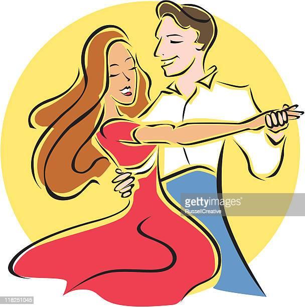 ballroom dancers - salsa dancing stock illustrations, clip art, cartoons, & icons