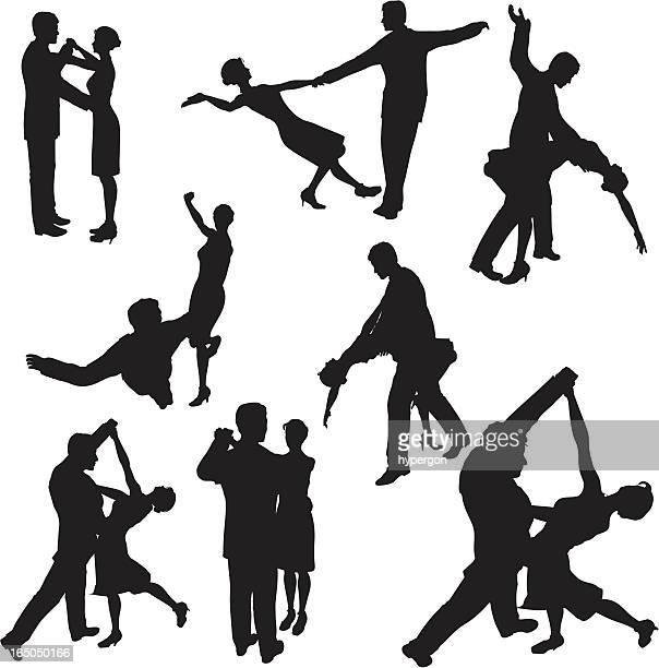 illustrations, cliparts, dessins animés et icônes de collection de silhouette de danse de la salle de bal - danse de salon