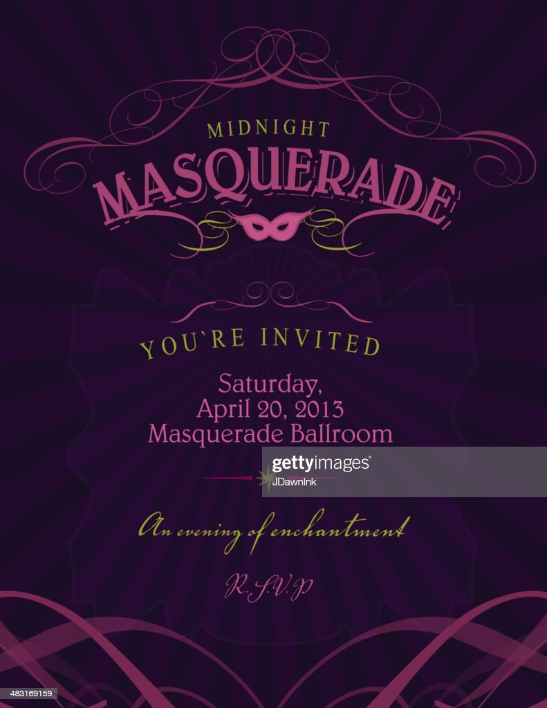 ballroom masquerade invitation design template with mask vector art