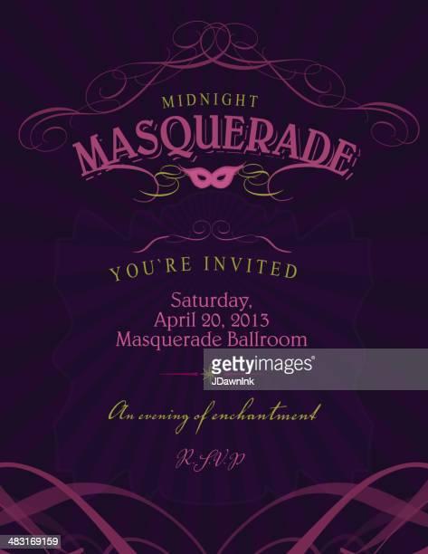 Ballroom Masquerade invitation design template with mask