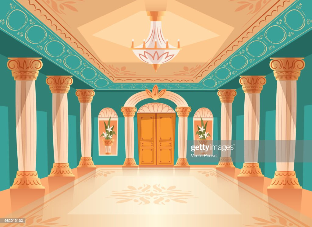 Ballroom or royal palace hall vector illustration