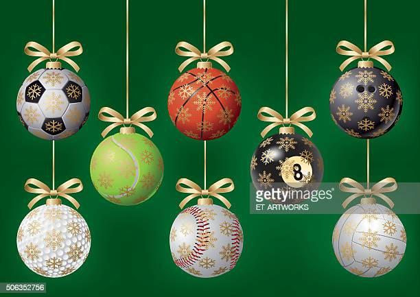 illustrazioni stock, clip art, cartoni animati e icone di tendenza di di albero di natale palle - pallone da pallavolo