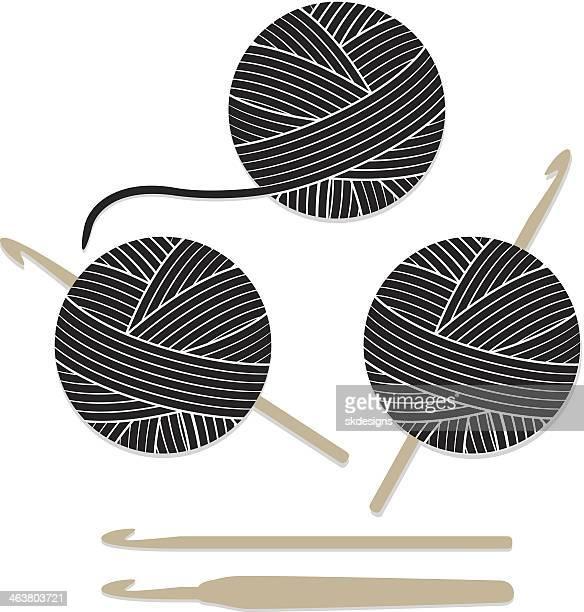 Bolas de hilo y aguja de hacer ganchillo conjunto de iconos de
