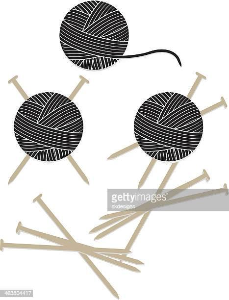 Bolas de hilo y agujas tejer conjunto de iconos