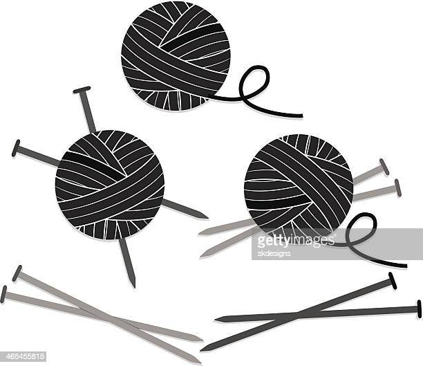 Balls of Yarn and Knitting Needles Set, Icons