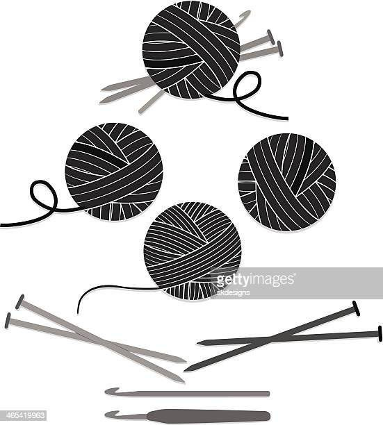 Balls of Yarn, Knitting Needles, Crochet Hooks Set, Icons