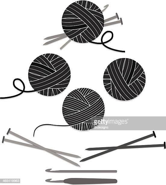 Bolas de hilo y agujas punto, ganchos de Crochet conjunto de iconos