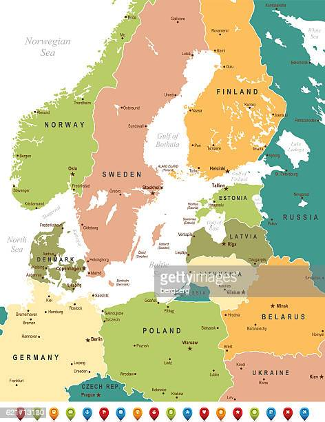baltic sea map - eastern europe stock illustrations, clip art, cartoons, & icons