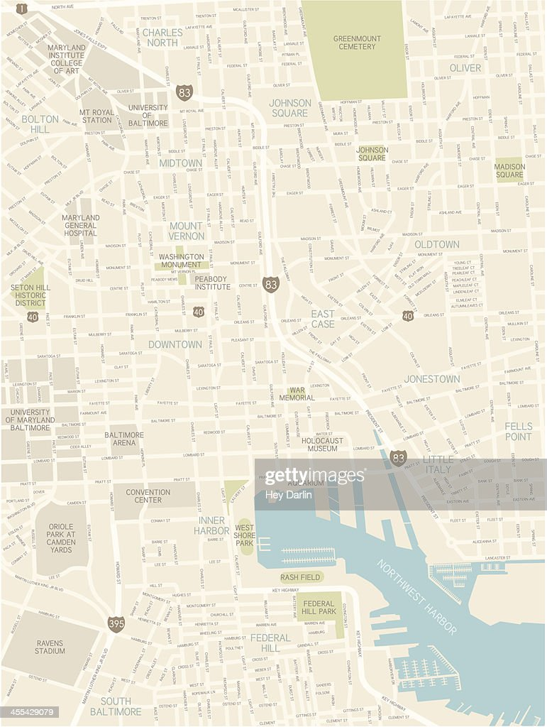 Baltimore Downtown Map : stock illustration