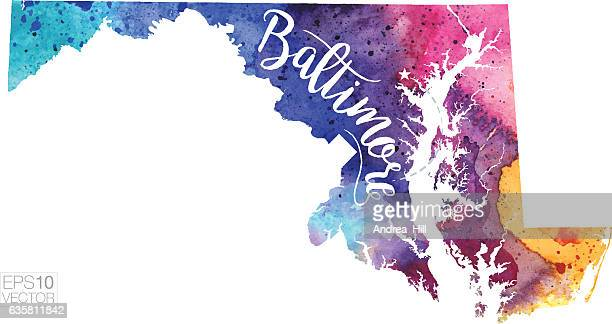 baltimore, maryland vector watercolor map - maryland stock illustrations, clip art, cartoons, & icons