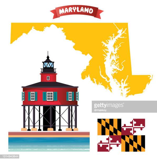 baltimore red lighthouse - maryland stock illustrations, clip art, cartoons, & icons