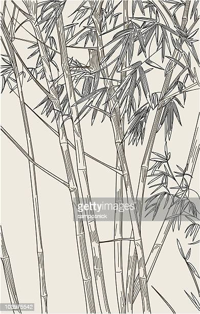 bamboo background - pen and ink stock illustrations, clip art, cartoons, & icons