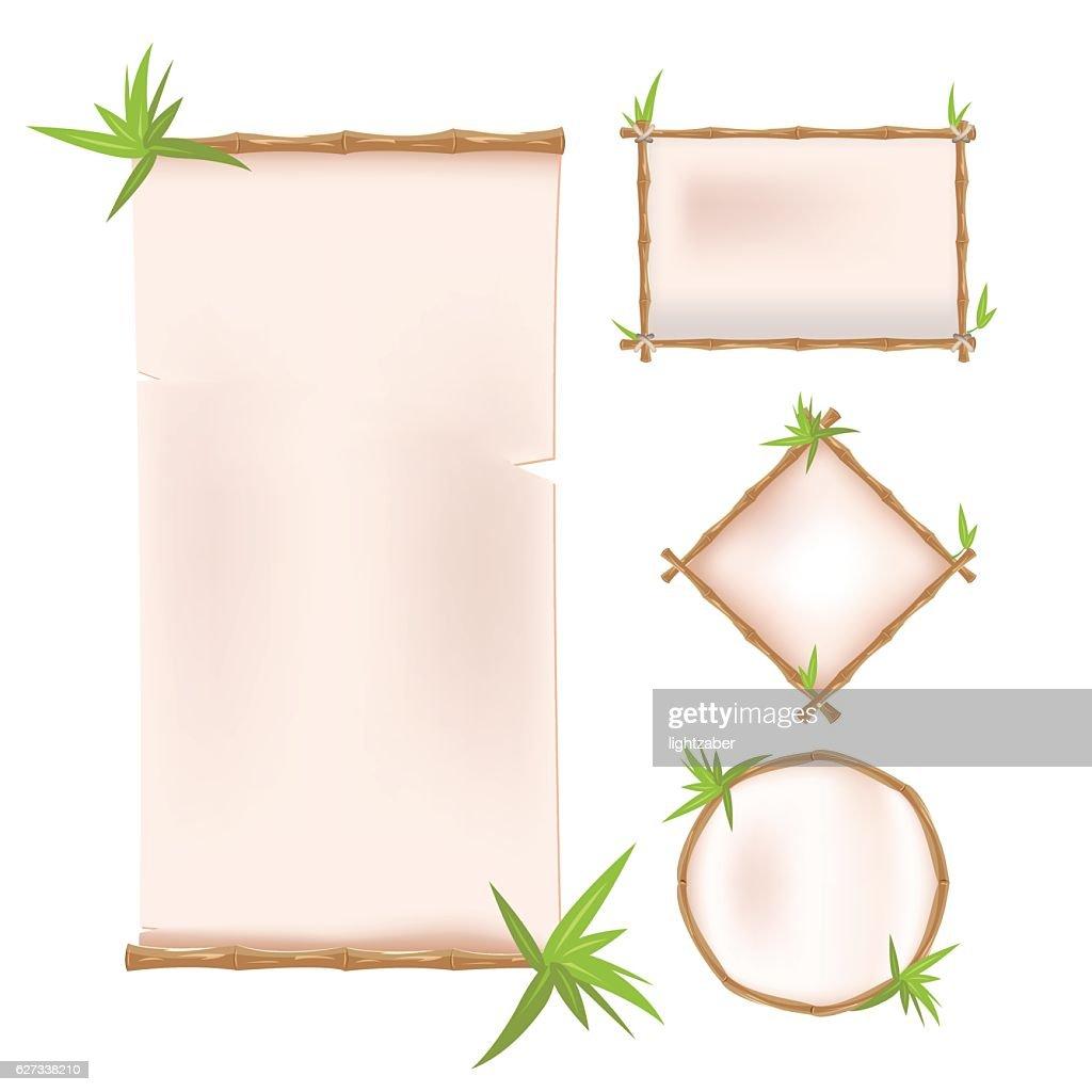 Bamboo Border Frame Template Design Vector