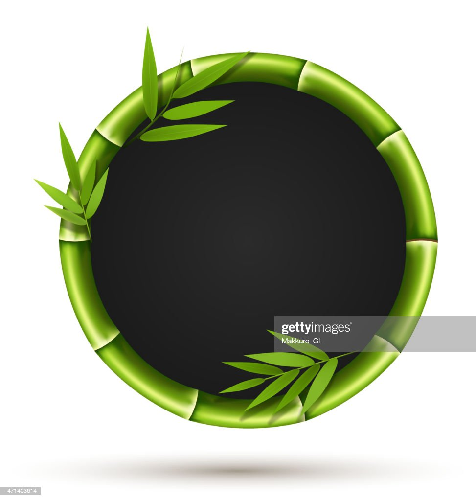 Bamboo circle frame with leafs isolated on white