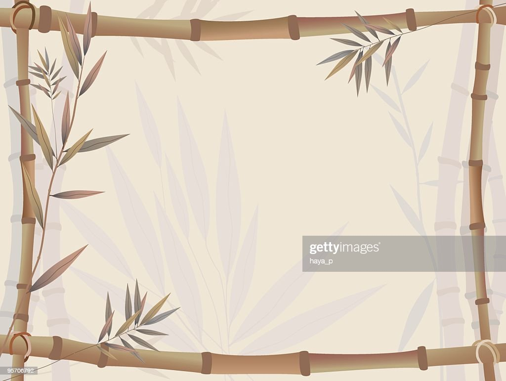 Bamboo Frame On Foggy Thicket Background