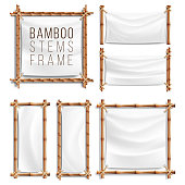 Bamboo Frame Set Vector With Canvas. Wooden Frame Of Bamboo Sticks Swathed In Rope. Banner Template