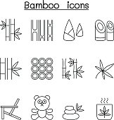 Bamboo icon set in thin line style