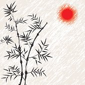 Bamboo japanese vector asian illustration. Art traditional. Chinese background with red sun.