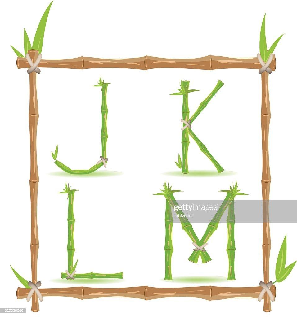 Bamboo Letter Alphabet Green Set C Vector