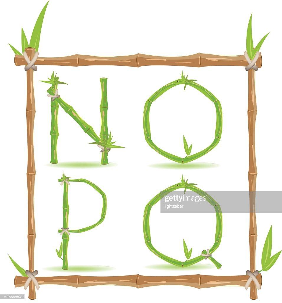 Bamboo Letter Alphabet Green Set D Vector