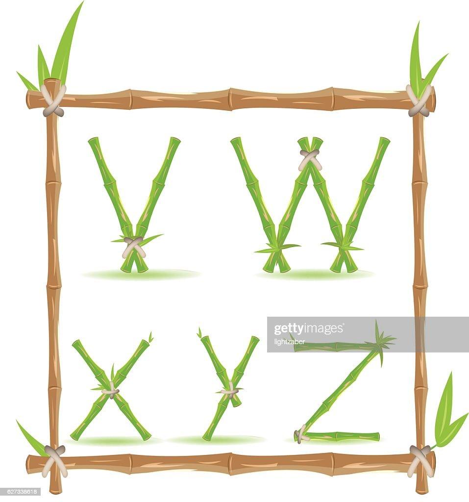 Bamboo Letter Alphabet Green Set F Vector