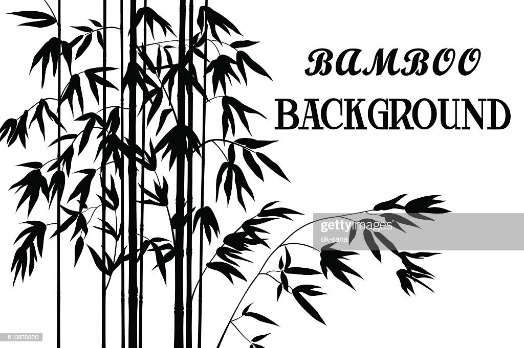 Bamboo Stems with Leaves Silhouettes