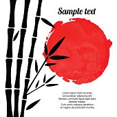 Bamboo trees black silhouettes and red watercolor