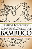 Bambuco's Woman Dancer in Hand Drawn for Colombian Folkloric Festival
