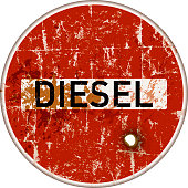 ban on diesel cars in german cities, grungy traffic sign, danger of air pollution, vector