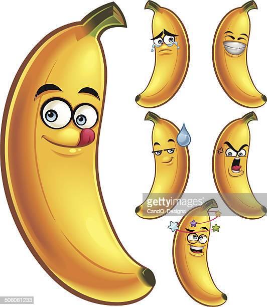 banana cartoon set - banana stock illustrations, clip art, cartoons, & icons