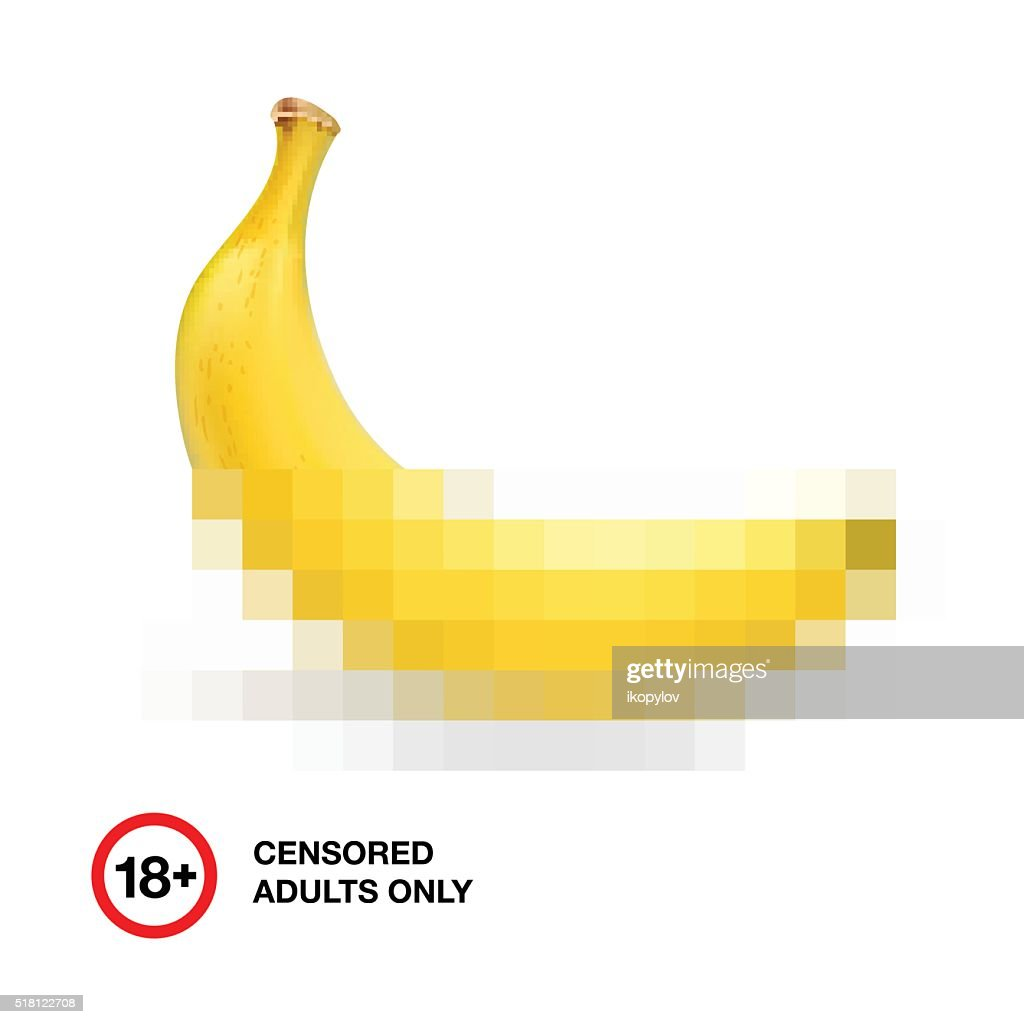 Banana closed by censorship, symbol adult only 18