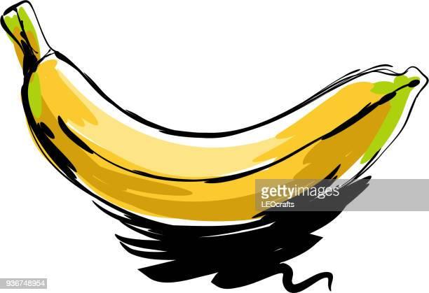 banana drawing - banana stock illustrations, clip art, cartoons, & icons