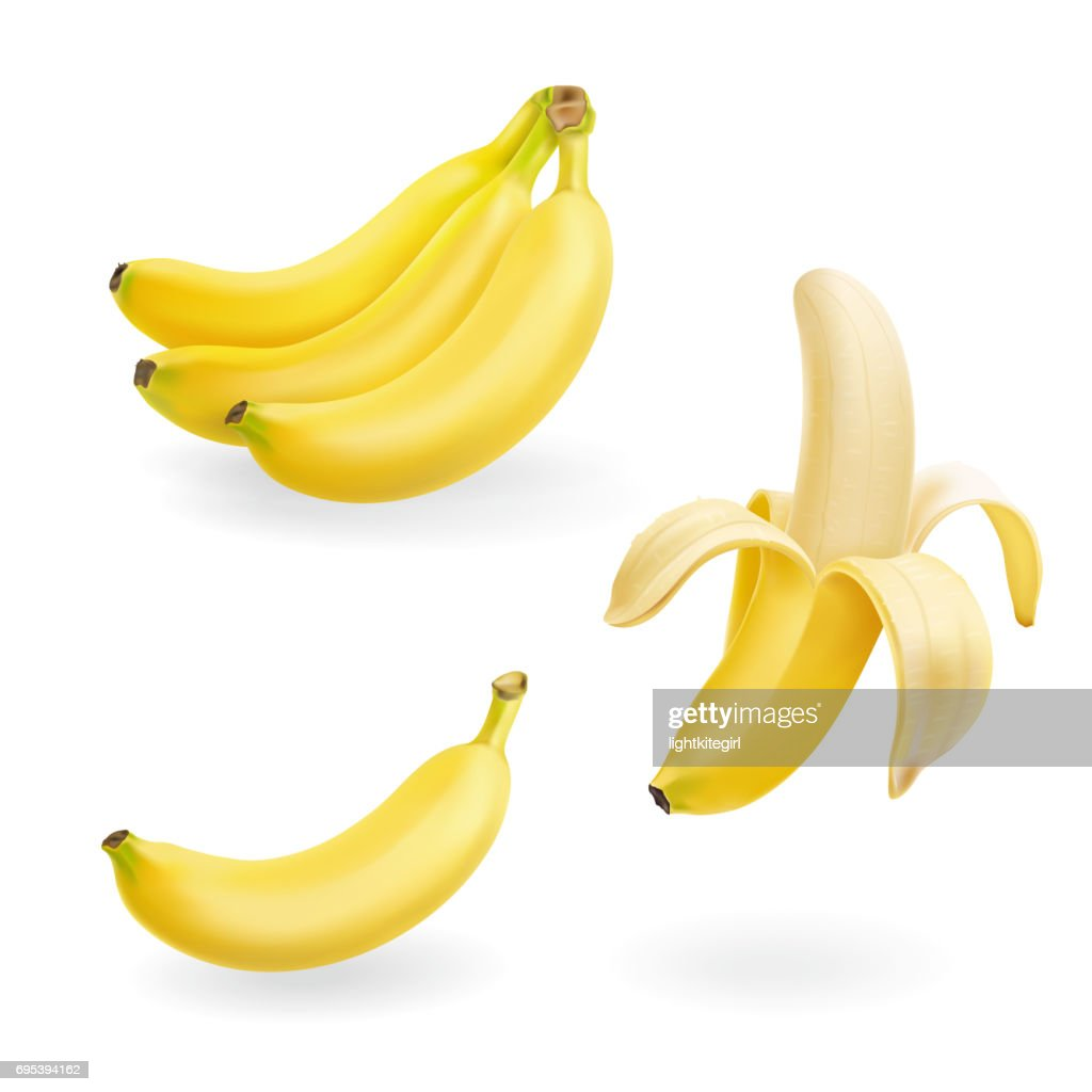 Banana fruit set vector realistic icons illustration