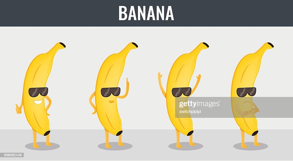 Banana. Funny cartoon fruits. Organic food. Vector