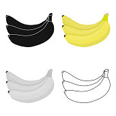 Banana icon cartoon. Singe fruit icon from the food cartoon.