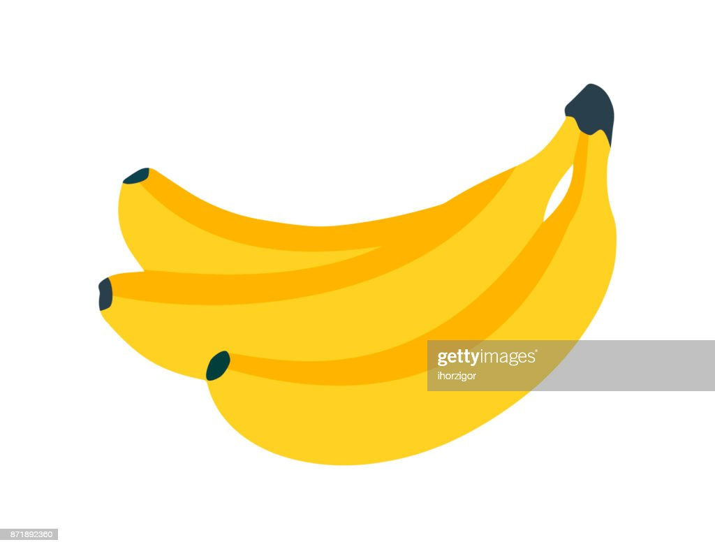 Banana icon. Fresh banana on white