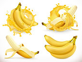 Banana juice. Fresh fruit and splash, 3d realistic vector icon