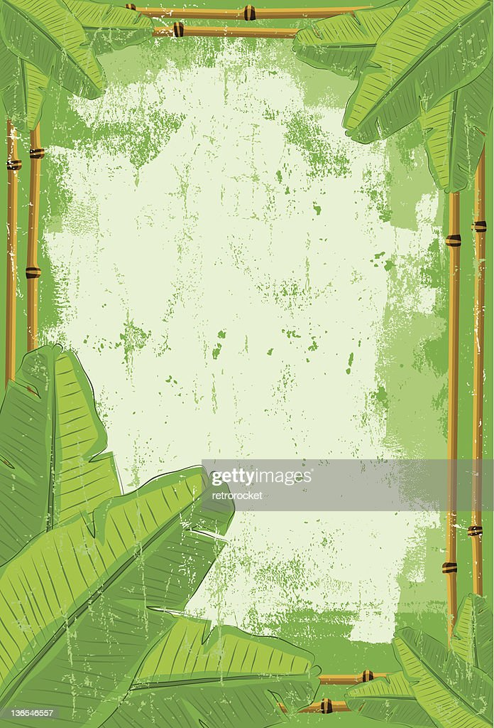 banana leaf and bamboo background
