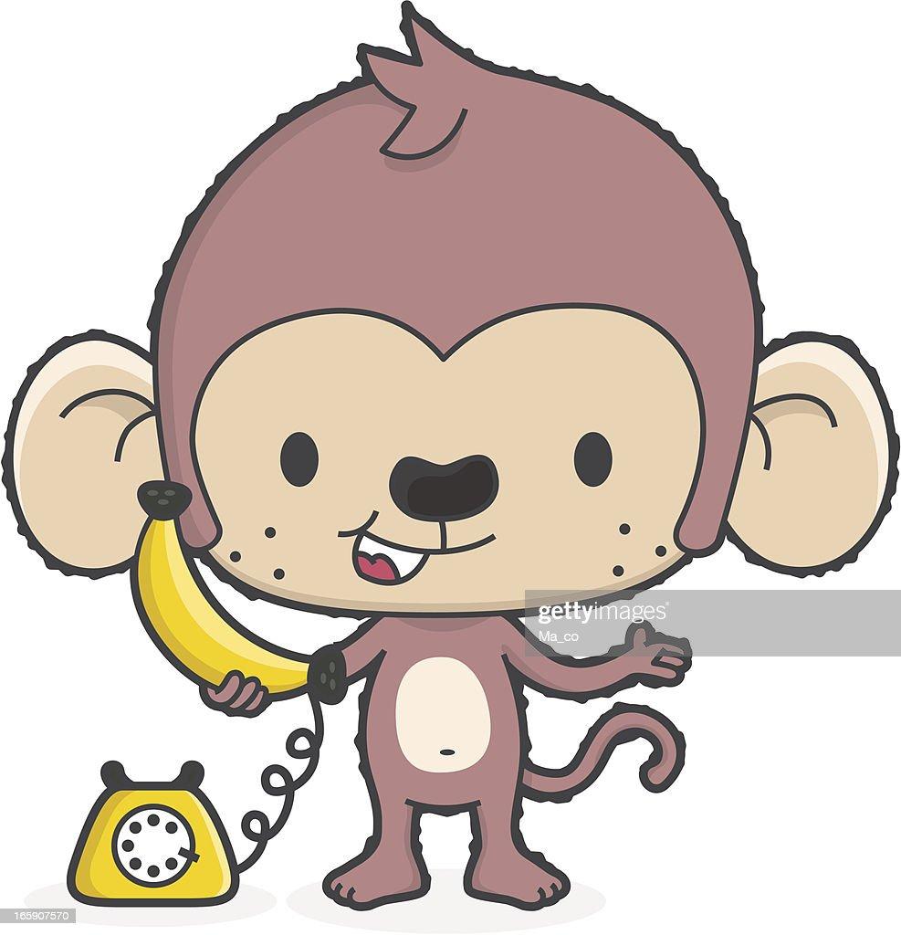 Macaco com Banana telefone/telefone de comunicação : Ilustração
