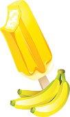 Banana popsicle Ice-cream. Summer flavor