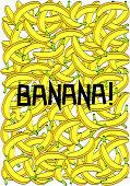 Banana poster illustration. Many colored bananas black background.
