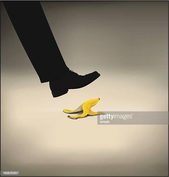 ilustrações, clipart, desenhos animados e ícones de calçado de banana - careless