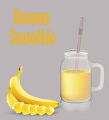 Banana smoothie and jar with a handle