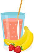 Banana-strawberry juice in a glass. Fresh.  and   isolated on