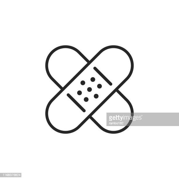 band aid line icon. pixel perfect. for mobile and web. editable stroke. - groom human role stock illustrations